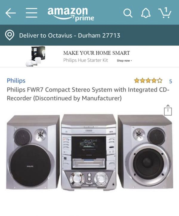 Philips FWR7 Compact Stereo System with 3 disk for Sale in Durham, NC -  OfferUp