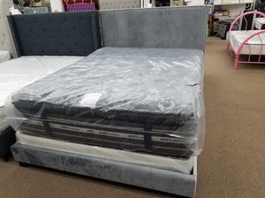 New in box grey velvet queen size bed frame only for Sale in Takoma Park, MD