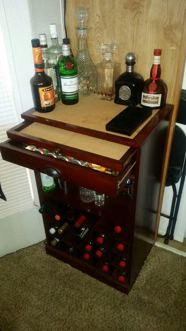 Bar Wine Cabinet Has Tool Drawer And Pull Out Shelf Cork Top Inserts