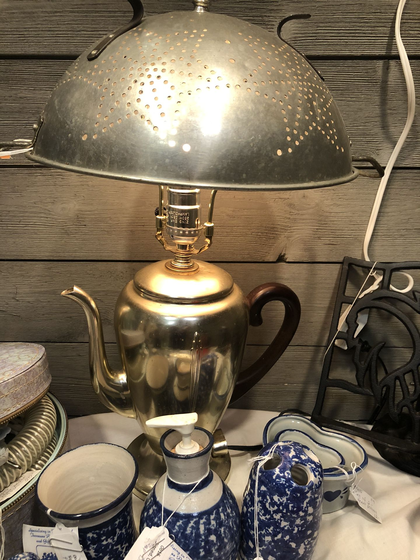 Farmhouse Style Vintage Colander/Percolator Lamp