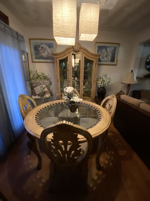 Dining Room Table Set And Matching Showcase Glass Cabinet