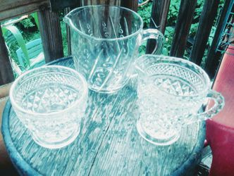 2 glass pitchers and sugar bowl Thumbnail