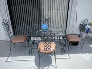 Indoor/outdoor glass Table set 4 chairs for Sale in Sunrise, FL