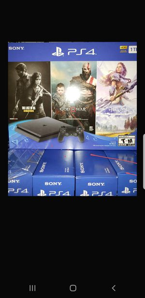 Photo PS4 SLIM 1TB (1000GB) 3 FREE GAMES 🎁 ⭐THE LAS OF US ⭐GOD OF WAR ⭐HORIZON BRAND NEW 🎁 FACTORY SEALED 🎁 NEVER OPENED 🎁 WARRANTY WITH SONY ⚙⏳💯👍