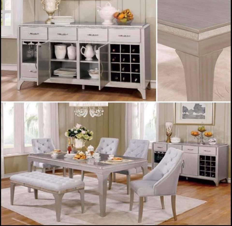 $1,699 / 6- PIECES DINNER SET  A glamorous design that will amaze guests of all ages, Antique, Mirror Insert, Flannelette Cushions.