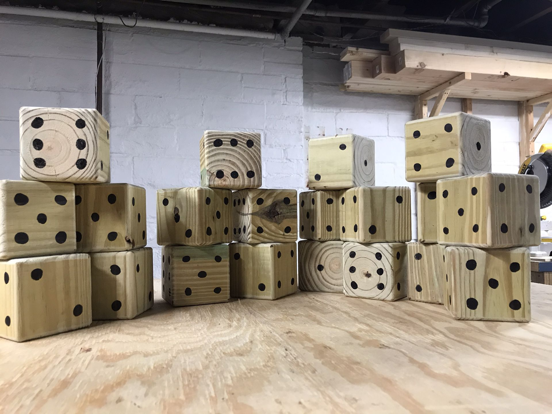 """Dice (5) - Large, Wooden, 3.5"""" Square"""