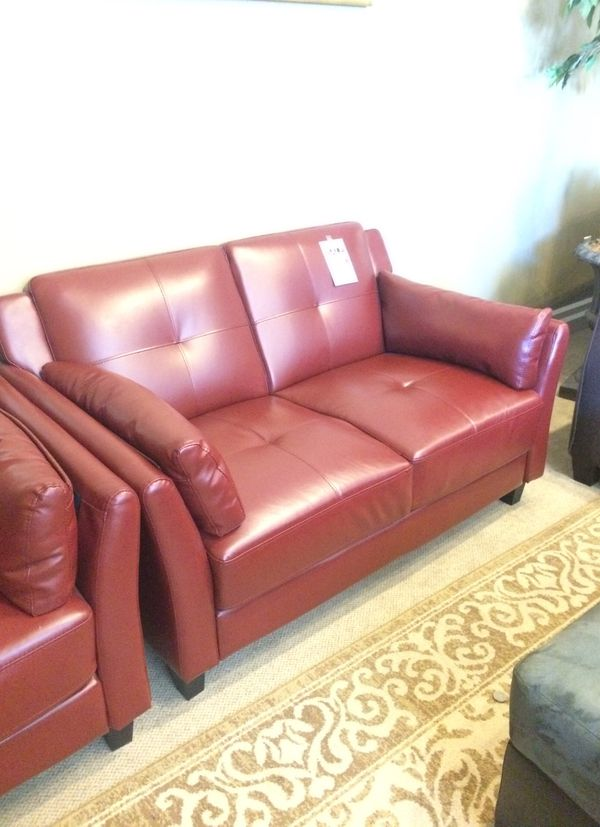Burgundy Bonded Leather Loveseat (Furniture) in Phoenix, AZ - OfferUp