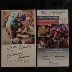 Duane Thomas Dallas Cowboys Signed 3x5 Index Card JSA Certified Authentic Autograph Thumbnail