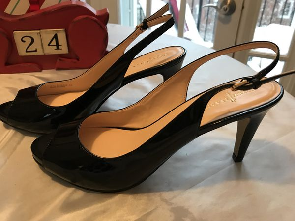 782335a12429 NWOB - Cole Haan Women s Margot Peep Toe Black Patent Leather Slingback  Pump Heel Size 8