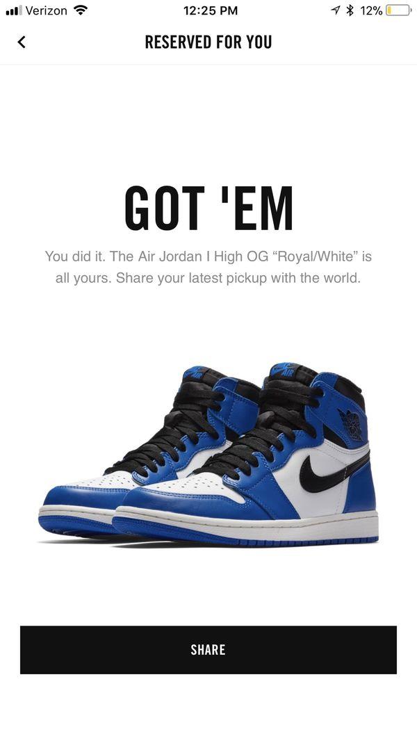 pick up b0f18 9afc8 Nike Air Jordan 1 Retro High OG Royal, Game Royal Summit White Black, Size  14