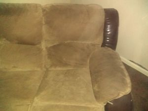 Microsuede and leather couches. for Sale in Suwanee, GA