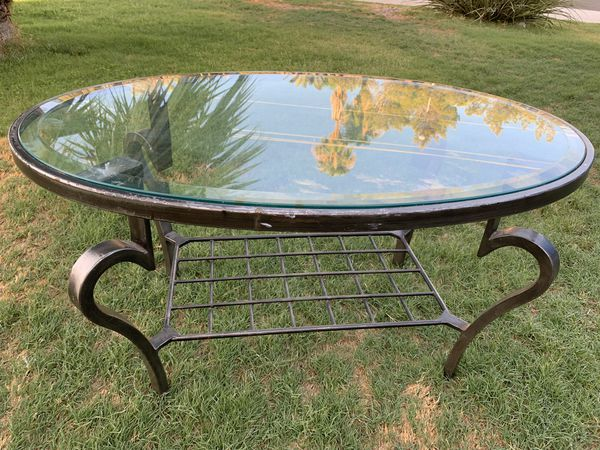 Heavy Metal Coffee Table With Glass Top Cute And Very Good