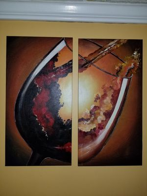 Red and White Wine glass painting for Sale in Miami, FL