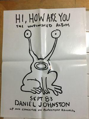 Daniel Johnston hi how are you original promo poster punk not vinyl for Sale in Austin, TX