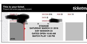 MIAMI OPEN TICKETS - SATURDAY MARCH 31st 2018 (PRICE FOR BOTH TICKETS !! 2) for Sale in Miami, FL