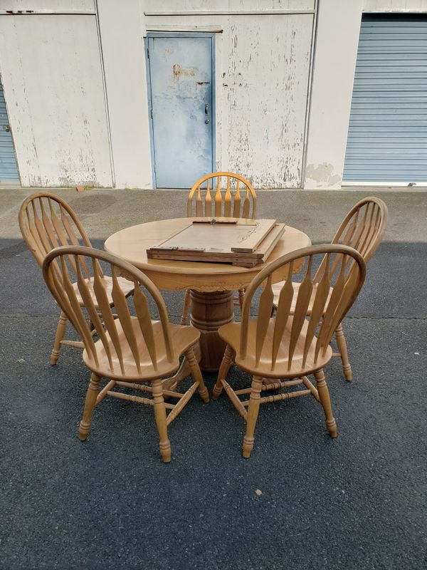 Solid Wood Carved Dining Table With Leaf 5 Chairs For Sale In