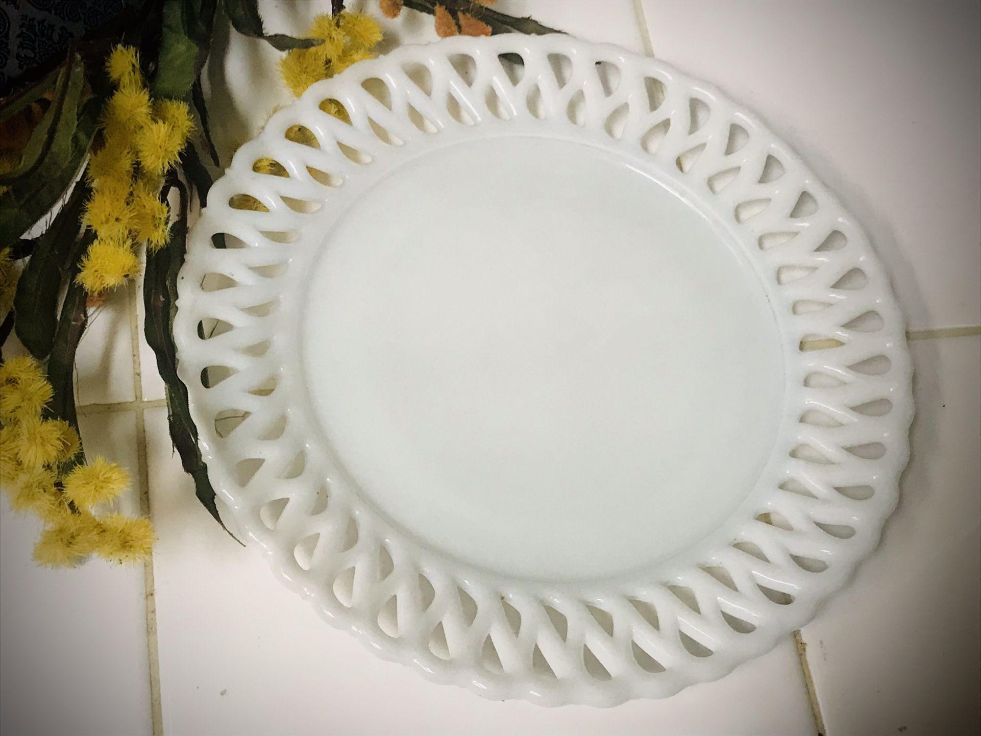 Vintage Milk Glass Dessert Plate
