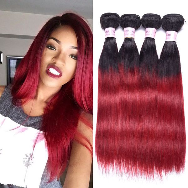 Top Hair Peruvian Ombre Burgundy Hair Extensions Black To Red