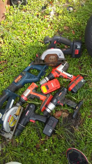 Power tools ryobi sawzall ryobi saw.. No battery. But they work 2 craftman drills 2 battery. Saw and charger and 2 fire storm drills with 2 batt for Sale in Apopka, FL