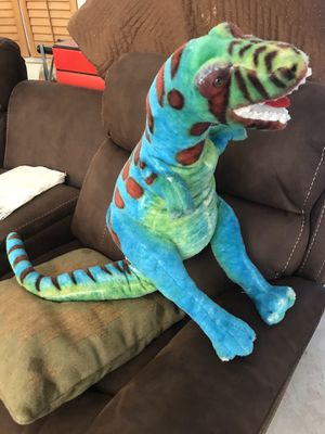 Photo Dinosaur T Rex Green and Blue Plush or stuff animal