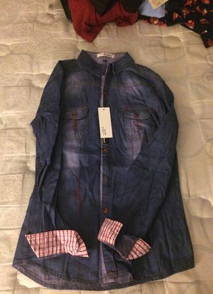 Brand new denim long sleeve with plad sleeve . Size M for Sale in Frederick, MD