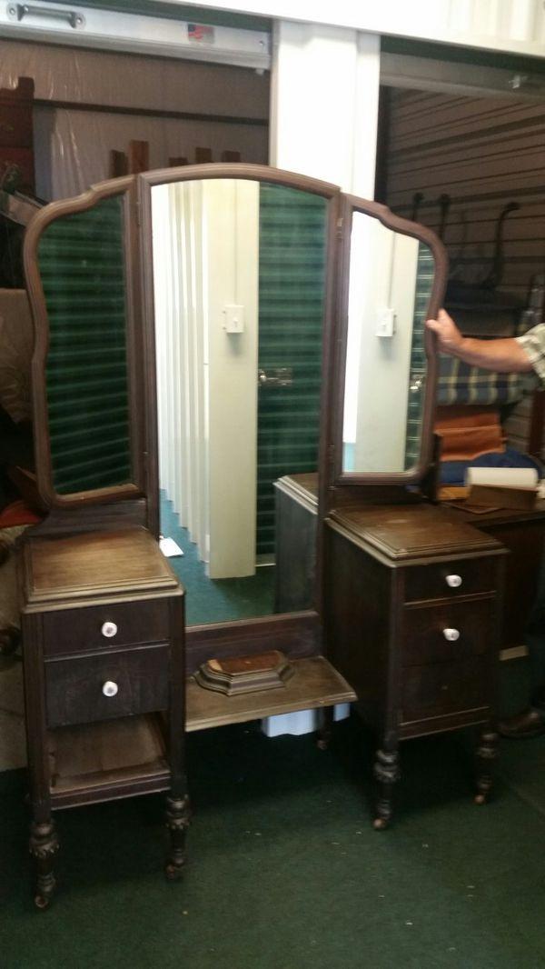 Antique vanity tri-fold mirror drop well Dresser for Sale in Falkville, AL  - OfferUp - Antique Vanity Tri-fold Mirror Drop Well Dresser For Sale In
