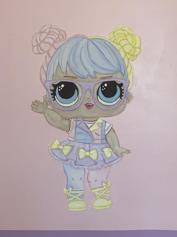 Lol Surprise Handpainted Mural On Wallpaper Kids Decor 2ft