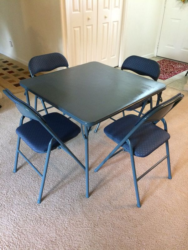 Card Table Set With Four Padded Chairs