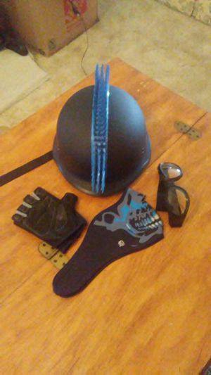 Used, Motorcycle dot certified helmet, goggles gloves and skull riding mask for sale  Tulsa, OK