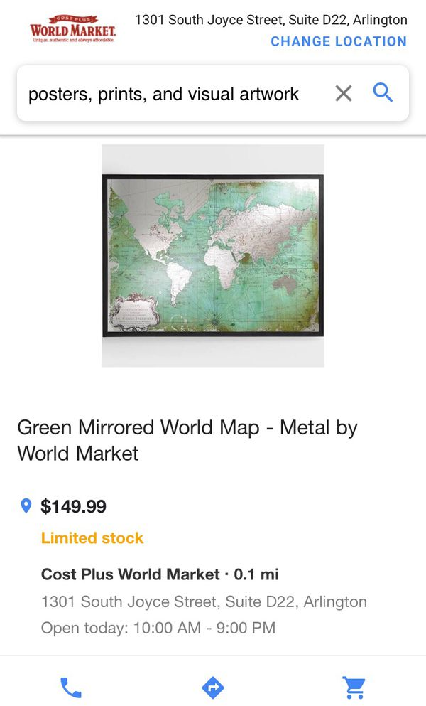 World map wall mirrorwall decor from world market moving sale 80sold gumiabroncs Image collections