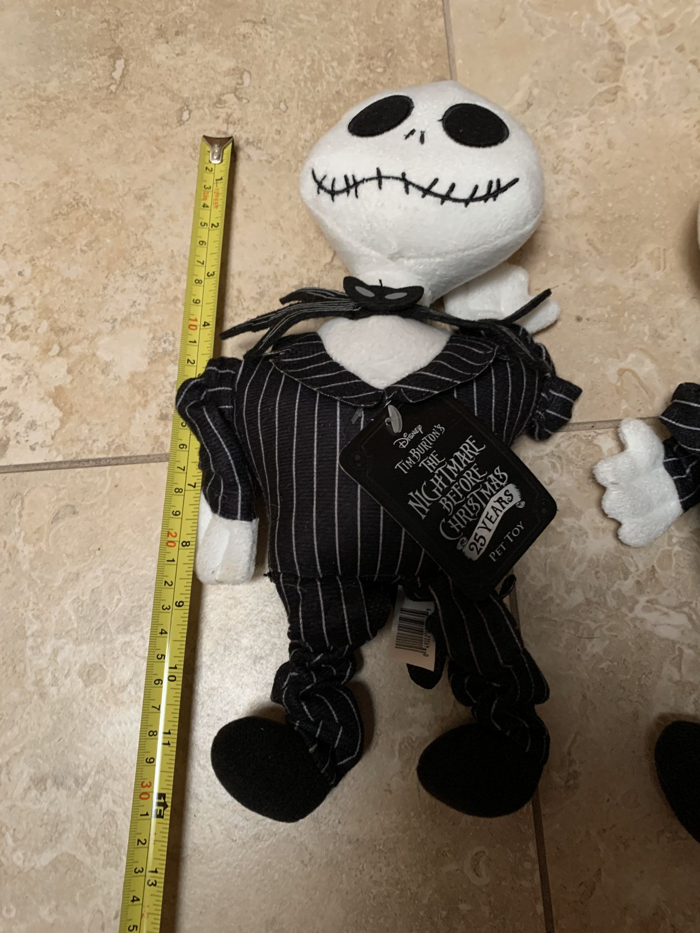 (2) Nightmare Before Christmas Jack Skellington Dog Toy