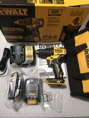 Photo DEWALT ATOMIC 20-Volt MAX Lithium-Ion Brushless Cordless Compact 1/2 in. Drill Driver w/ (2) Batteries 1.3Ah, Charger & Bag
