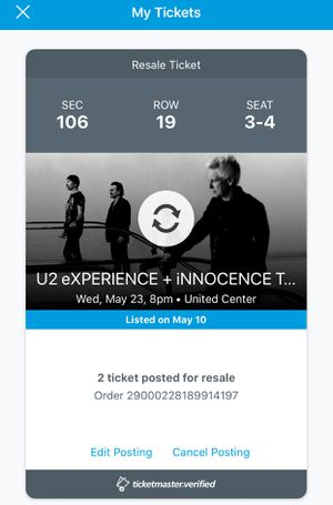U2 Tickets for May 23rd - 100 Level for Sale in Chicago, IL
