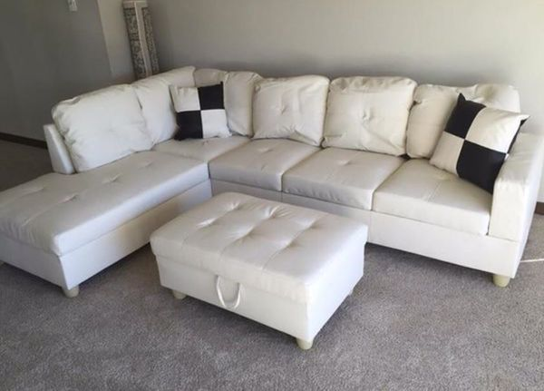 Pleasant New White Faux Leather Sectional Sofa With Storage Ottoman For Sale In Renton Wa Offerup Unemploymentrelief Wooden Chair Designs For Living Room Unemploymentrelieforg