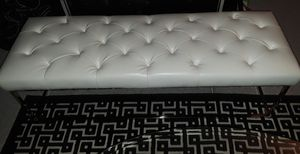 White Leather ottoman for Sale in Columbia, MD