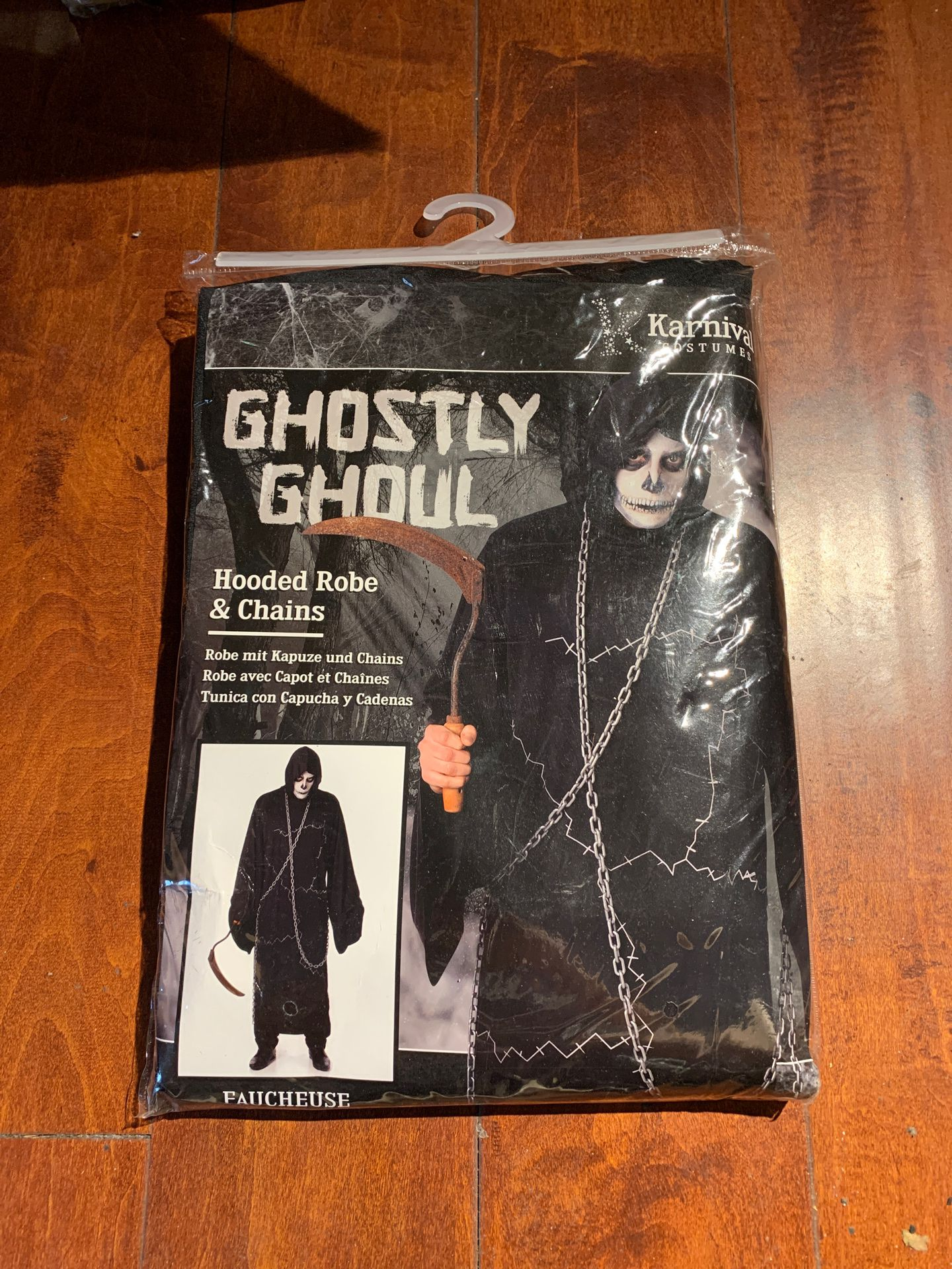 Ghostly Ghoul Hooded Robe Chains Zombie Grim Reaper Halloween Costume L