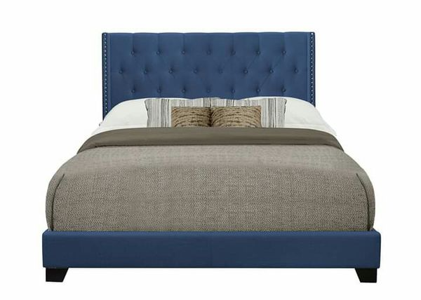 lowest price 680c0 475b3 Royal blue tufted upholstered bed with nail head trim for Sale in  Charlotte, NC - OfferUp