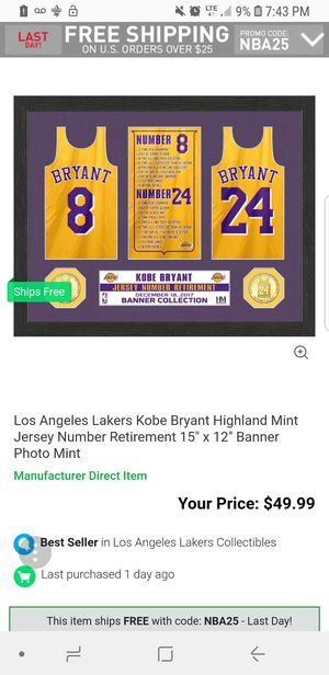 NBA Kobe bryant jersey number retirement for Sale in Downey 264a03ebc