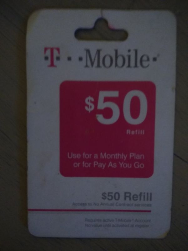 T-Mobile refill card $50 00