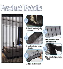 """Magnetic Screen Door - Heavy Duty Mesh Curtain with Full Frame Hook and Loop Powerful Magnets That Snap Shut Automatically - Black 38""""x83"""" Fits Door Thumbnail"""