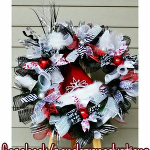 Tiara Santa Hat Red Black And White Christmas Wreath For Sale In Us