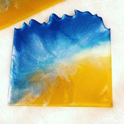 Epoxy Resin Beach Themed Coaster Set Of 4 Thumbnail