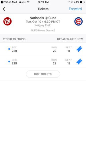 Cubs tickets 2 tickets game 4 tomorrow sec 229 r22 350 for the pair for Sale in Chicago, IL