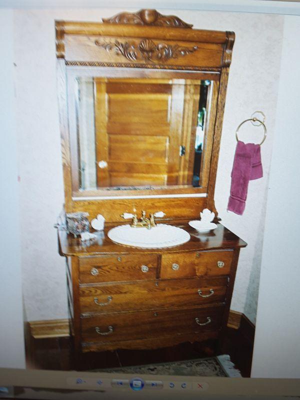 Antique Oak Dresser With Porcelain Sink For In Kernersville Nc Offerup