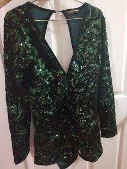 Marcellina Hunter Green Deep V Neck Sequin Velvet Romper Thumbnail