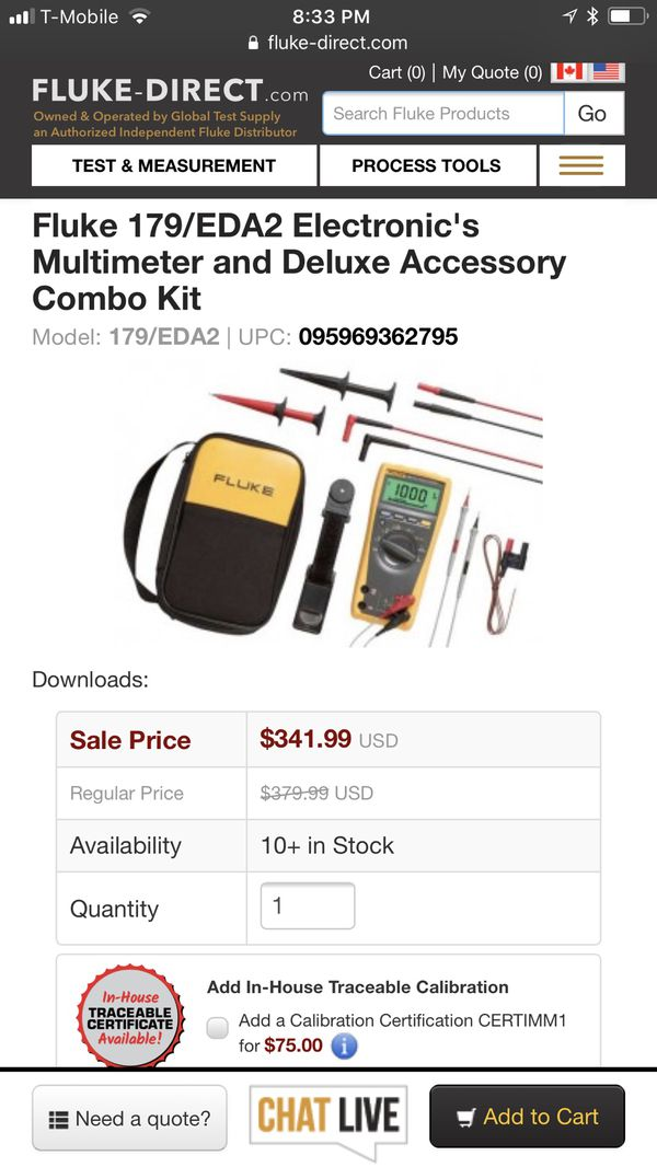 Fluke electronics multimeter combo kit 179/EDA2 kit for Sale in Sterling  Heights, MI - OfferUp