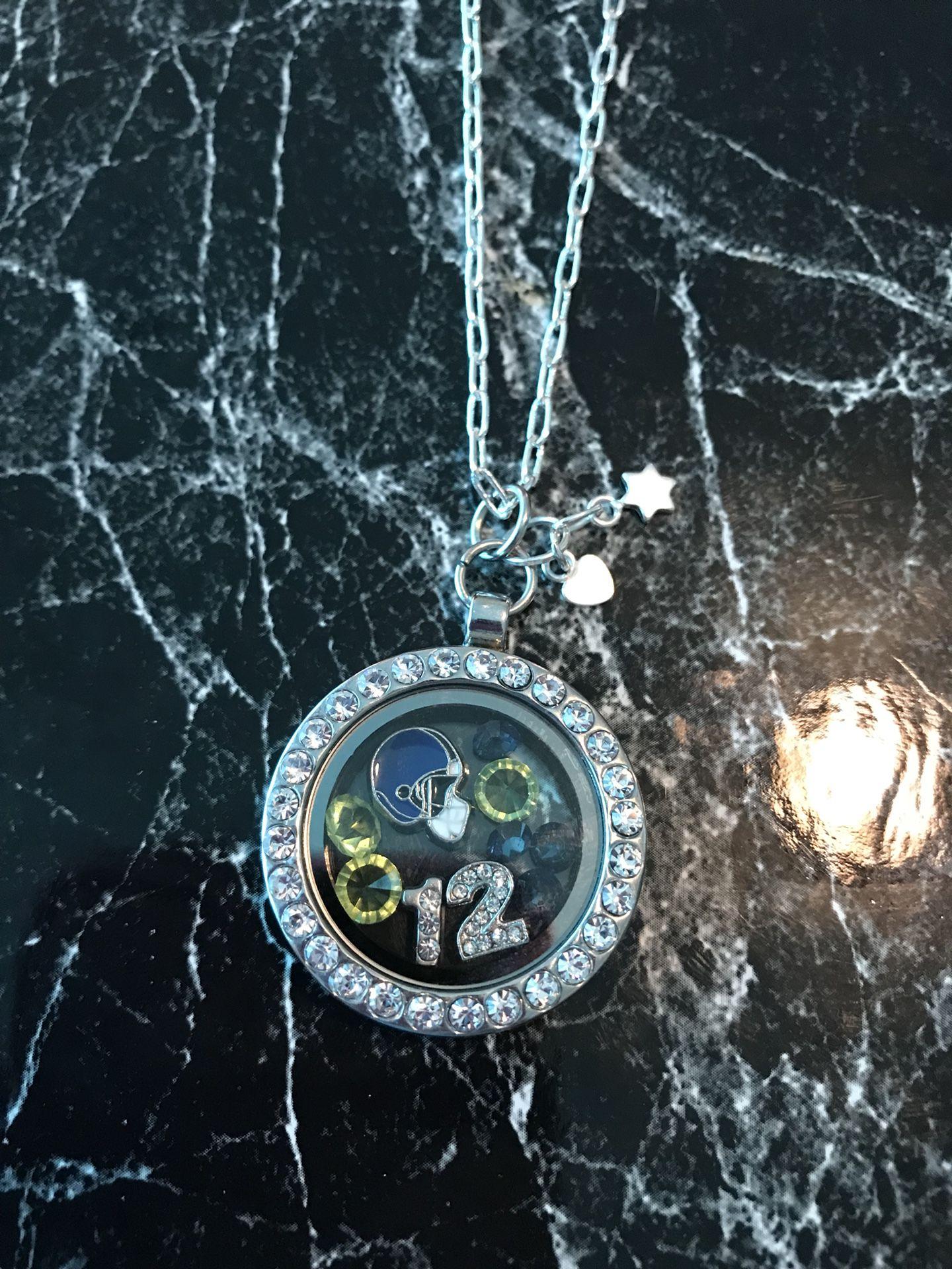 Seahawks floating charm locket necklace