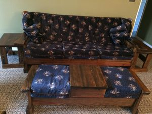 solid wood sofa set with cushions for Sale in Ruther Glen, VA