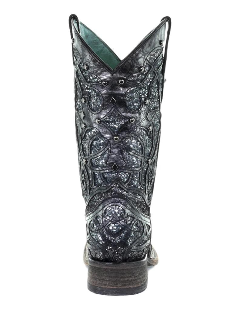 Corral Western Boot Womens Square Glitter Inlay 7.5 M Black Gray C3404