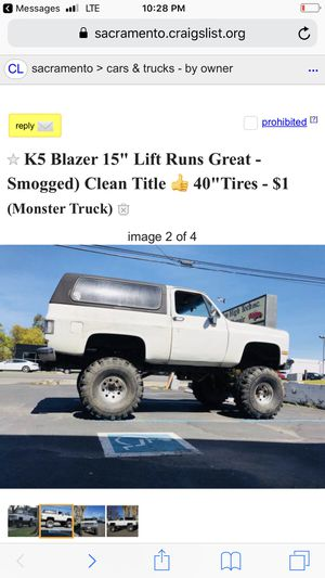 K5 Beast Mode 15 On 40s Tagged Smogged For Sale In Sacramento